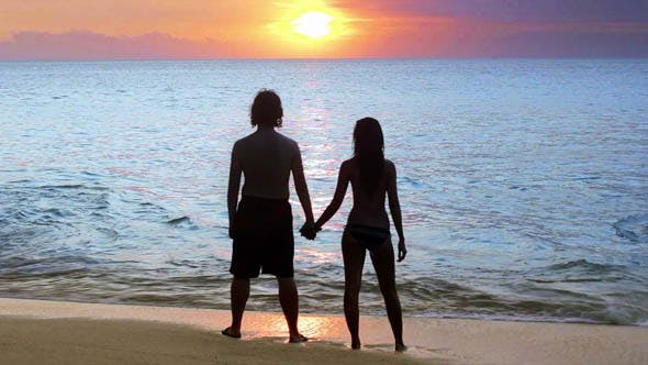 Thumbnail for Romantic Couple At Beach During Sunset 2