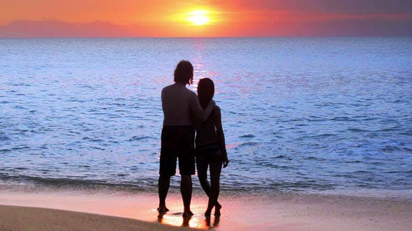 Thumbnail for Romantic Couple At Beach During Sunset 3
