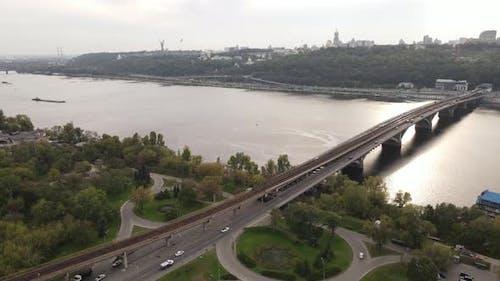 The Main River of Ukraine - Dnipro Near Kyiv. Slow Motion