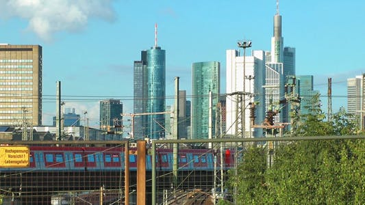 Thumbnail for Business Towers and Train In Frankfurt