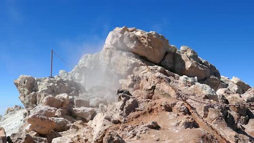 Sulfur Fumes From Teide Crater, Tenerife