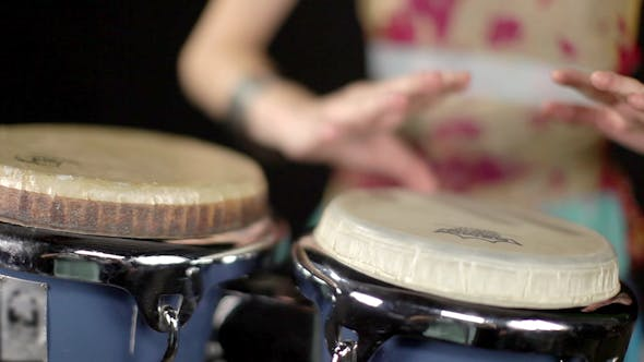 Thumbnail for Female Percussion Drummer Performing With Bongos 11