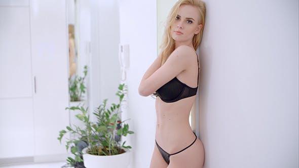 Thumbnail for Sensual Blond Girl Walking in Lingerie