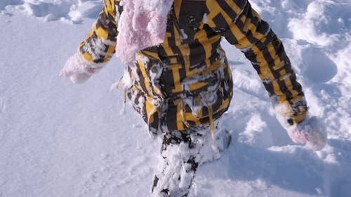 Child Vacation in the Deep Snow