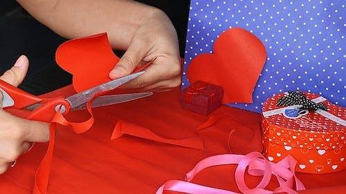 Girl Making Valentine Card