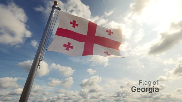 Thumbnail for Georgia Flag on a Flagpole