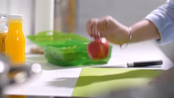 Cover Image for Mother Packing Meal for School Lunch Into Box