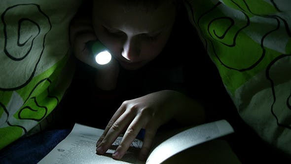 Thumbnail for Boy Reading Book In Bedroom With Flashlight