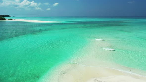 Thumbnail for Natural birds eye copy space shot of a white sand paradise beach and blue sea background in 4K