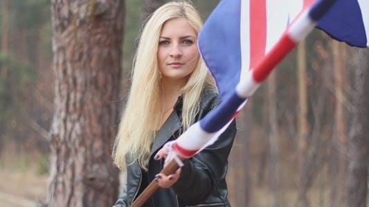 Girl Waving a British Flag