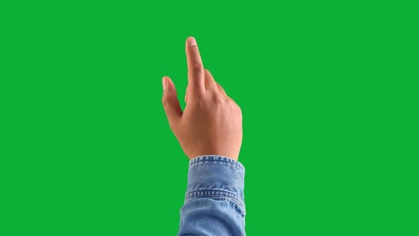 Mixed Race Deep Skin Tone Male Hand Makes a Double Tap Gesture with Index Finger Forefinger on