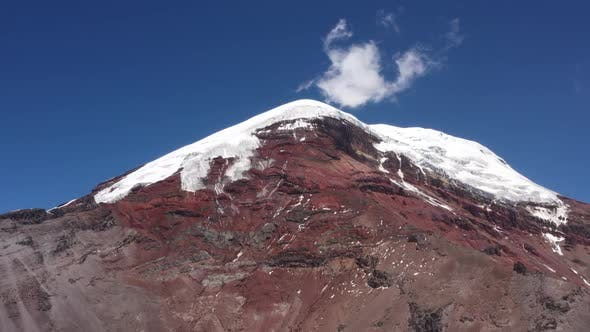 Aerial view of  chimborazo vulcano in Ecuador showing the many different colored layers and gletsers