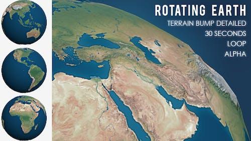 Rotating Planet Earth - Terrain Bump Detailed