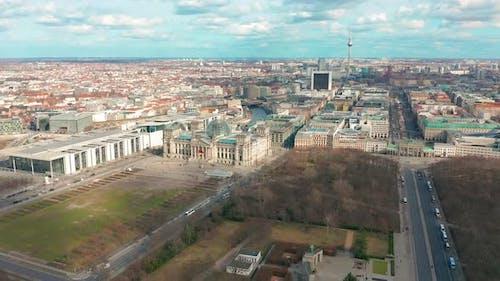Berlin Brandenburg Gate and Reichstag Panorama. Aerial View