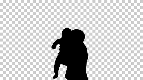 Thumbnail for Silhouette Mother with a baby, Alpha Channel