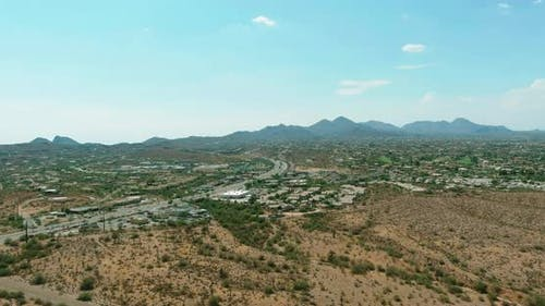 Aerial View of Single Family Homes a Residential District in Fountain Hills Arizona US Near Mountain