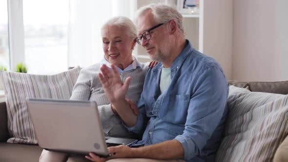 Thumbnail for Senior Couple Having Video Call on Laptop at Home