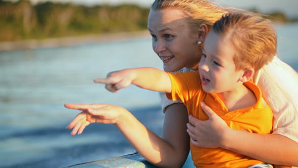Thumbnail for Mother And Son Enjoying Sea Travel By Boat