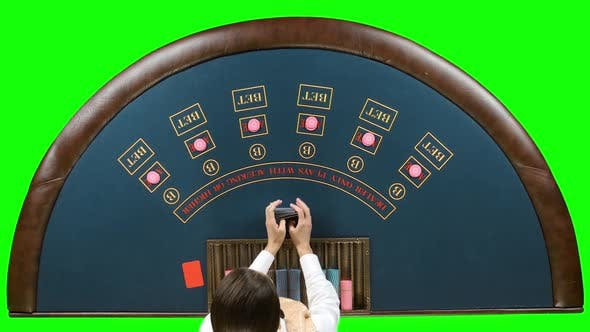 Thumbnail for Casino Dealer Woman Shuffles the Poker Cards. Green Screen
