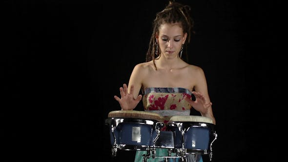 Thumbnail for Female Percussion Drummer Performing With Bongos 1