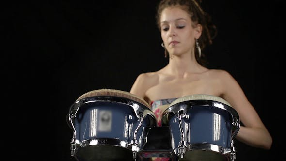 Thumbnail for Female Percussion Drummer Performing With Bongos 6