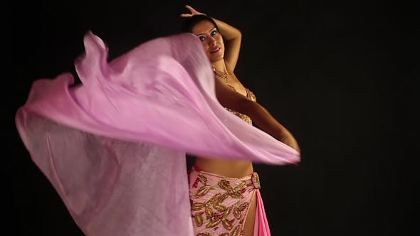 Thumbnail for Traditional Oriental Belly Dancer Pink Costume 14