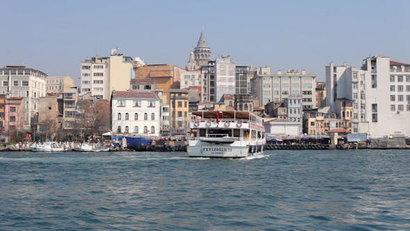 Thumbnail for Istanbul Skyline Galata Bosphorus Boats Turkey 1