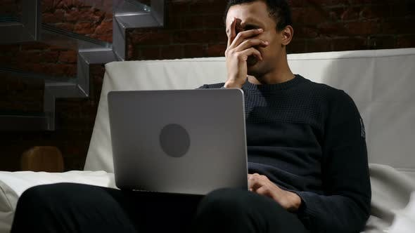Thumbnail for African Man Upset by Loss of Work on Laptop, Business