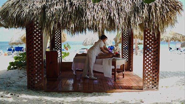 Thumbnail for Spa Treatment Massage In Gazebo On The Beach