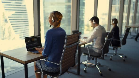 Customer Support Workers Are Working in Customer Support Call Center.
