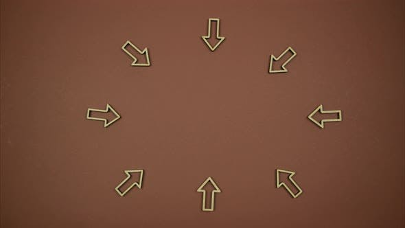 Thumbnail for Brown background with arrows pointing to the center of the frame. Stop Motion