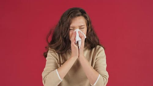 Sick Caucasian Girl Sad Millennial Woman Suffering From Runny Nose Sneezes Blowing Her Nose Into