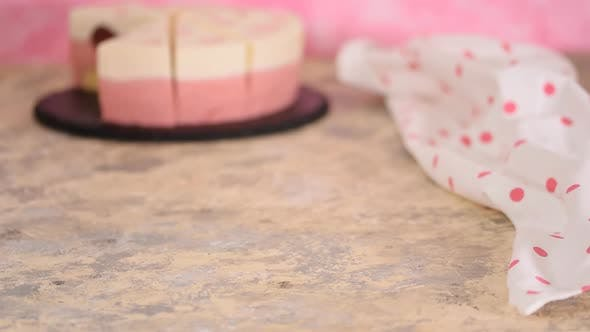 Thumbnail for A Piece of Delicious Strawberry Mousse Cake, Modern Dessert