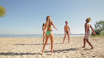 Beach Volleyball on the Seashore.