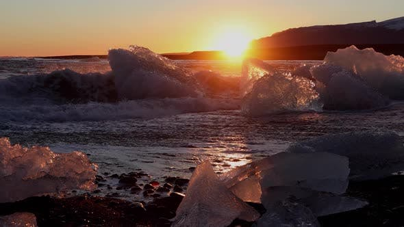 Thumbnail for Iceland Black Sand Beach Icebergs