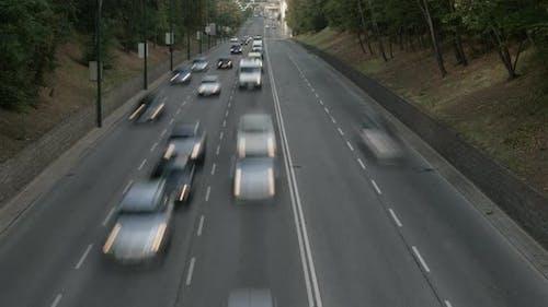 Heavy Traffic on City Road Timelapse