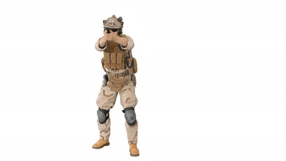 Thumbnail for Modern Soldier, Counter Terrorist Squad Fighter Shooting with a Pistol on White Background