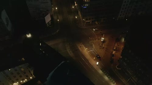 AERIAL View of Empty Berlin Germany Neighbourhood Intersections with City Light During COVID 19