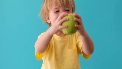Small Boy Holds a Big Green Apple