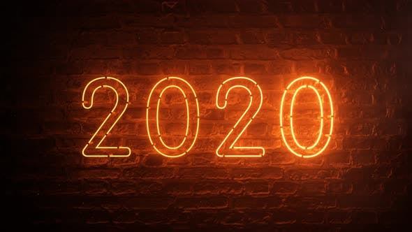 Thumbnail for 2020 Fire Orange Neon Sign Background