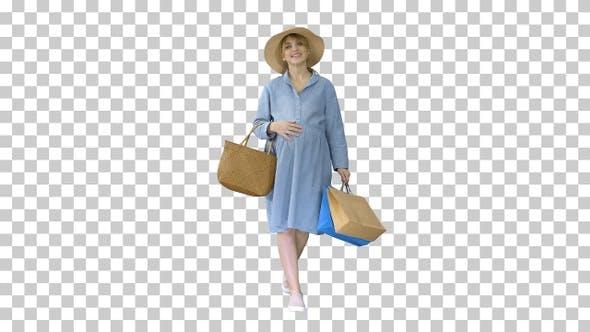 Thumbnail for Schwangere Frau in Sommerkleidung zu Fuß, Alpha Channel