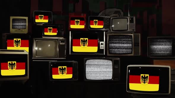 Thumbnail for Variant flag of Federal Republic of Germany and Retro TVs.