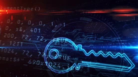 Key cyber security symbol abstract loopable tunnel animation