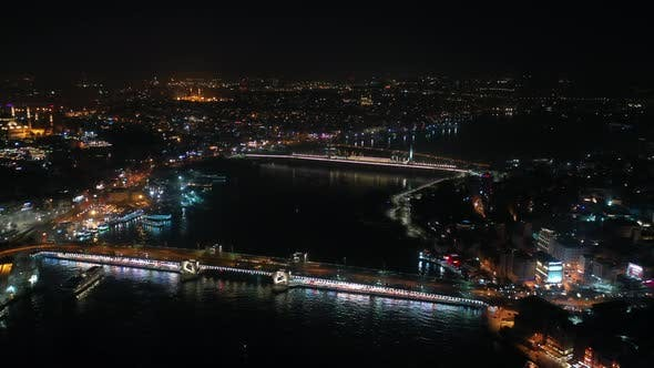 Thumbnail for Golden Horn And Galata Bridge Aerial View At Night