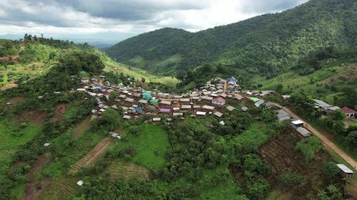Aerial view from drone of rural village in the mountains