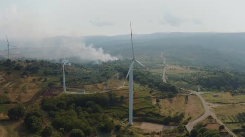 Aerial view of a modern windfarm in Palermiti, Calabria, Italy.