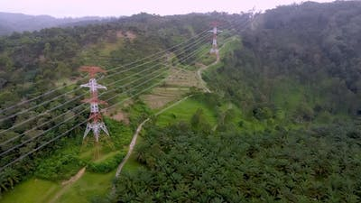 Aerial view fly over electric tower