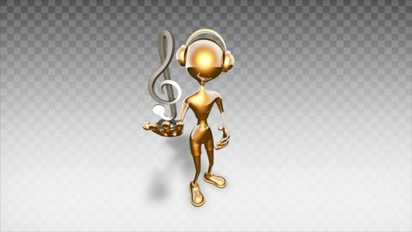 Thumbnail for Gold 3D Man - Cartoon Show Musical Symbol