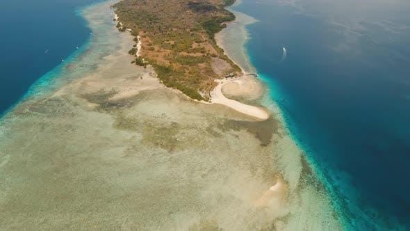 Aerial View Beautiful Beach Tropical Island Menjangan