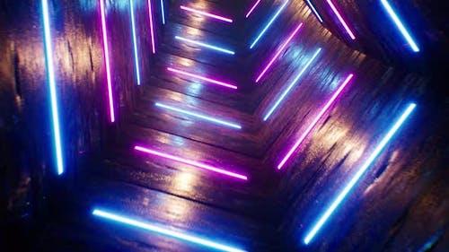 Grunge Pentagon VJ Neon Tunnel 4K Loop